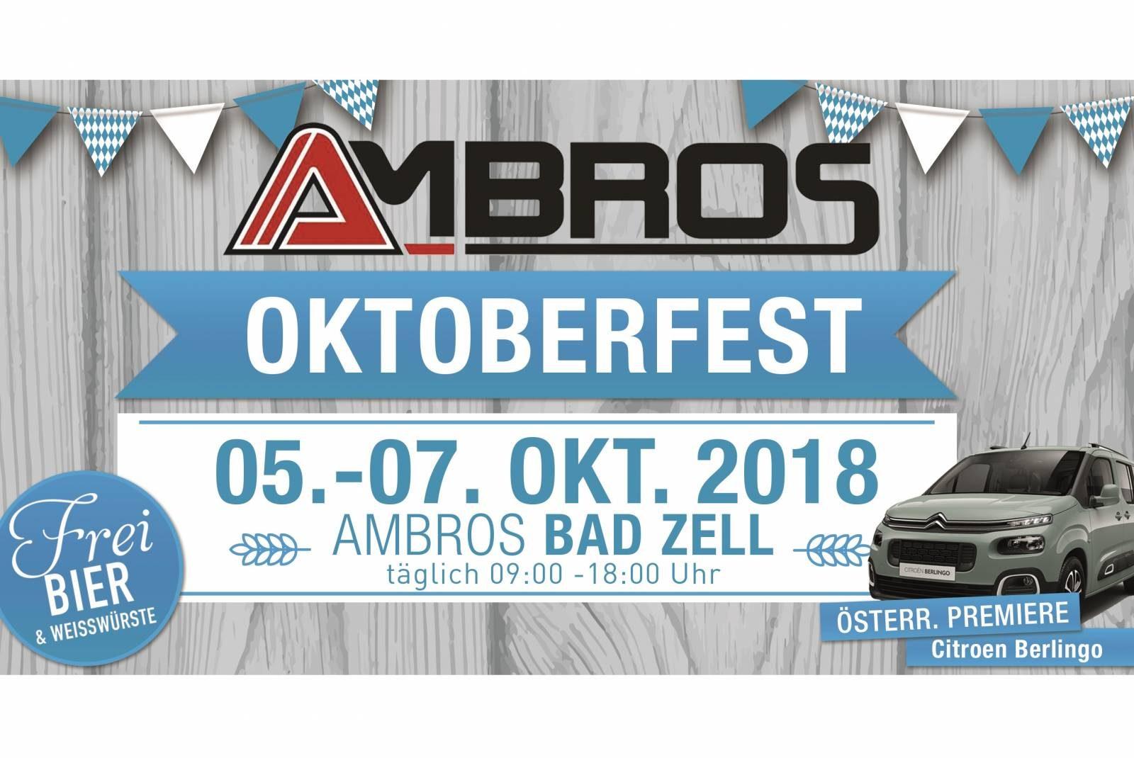 Ambros Oktoberfest in Bad Zell von 5. bis 7. Oktober 2018